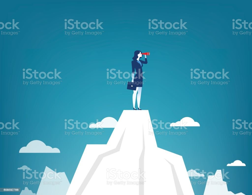 Businesswoman standing on top of the mountain using telescope looking for success. Concept business illustration. Vector flat - ilustración de arte vectorial