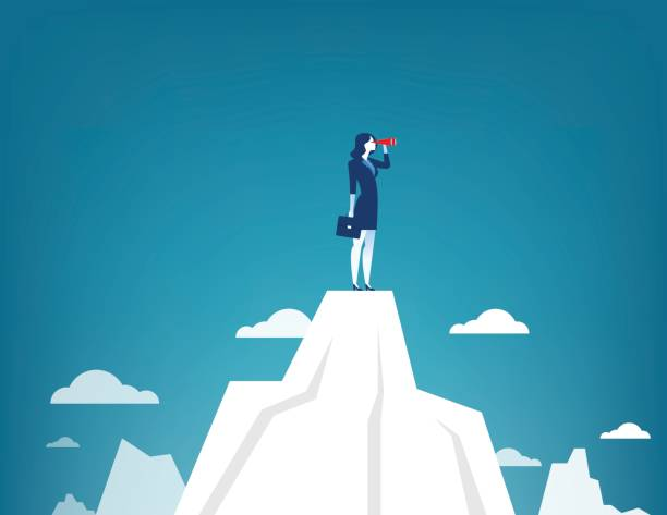 ilustrações de stock, clip art, desenhos animados e ícones de businesswoman standing on top of the mountain using telescope looking for success. concept business illustration. vector flat - business woman