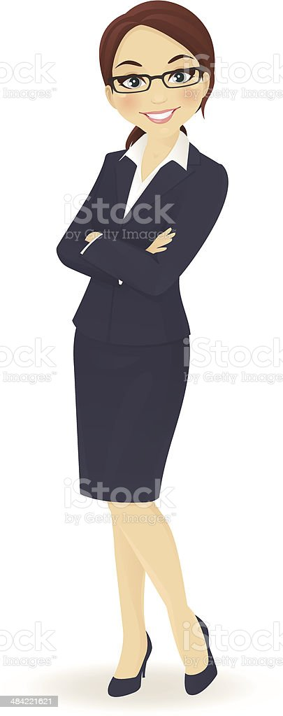 Businesswoman standing vector art illustration
