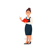 Businesswoman standing with a folder in her hand, business character working in office cartoon vector Illustration