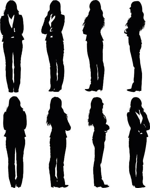 illustrazioni stock, clip art, cartoni animati e icone di tendenza di donna d'affari in piedi con le braccia incrociate - ritratto 360 gradi