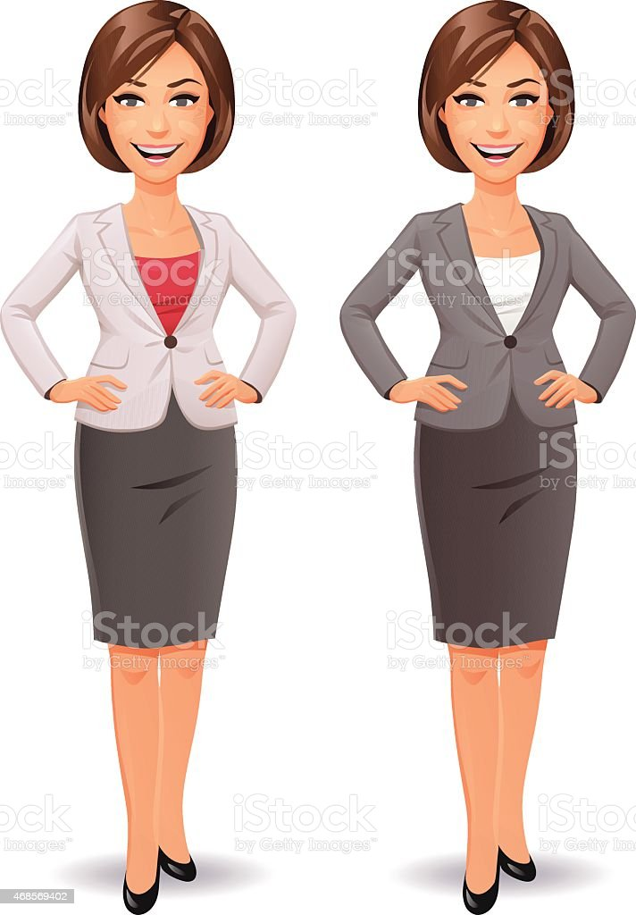 Businesswoman Standing With Hands On Hips vector art illustration