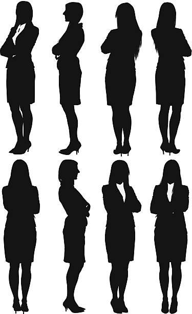 ilustraciones, imágenes clip art, dibujos animados e iconos de stock de empresaria de pie con los brazos cruzados - ejecutiva