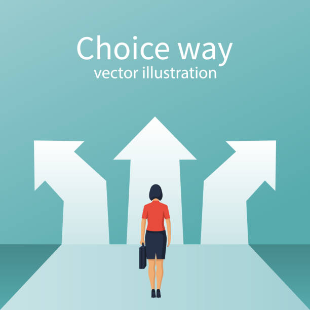Businesswoman stands before choosing Businesswoman stands before choosing. Way forward concept. Choice way. Vector flat style design. Achieve goal. Crossroads arrows. Decide direction. choosing stock illustrations