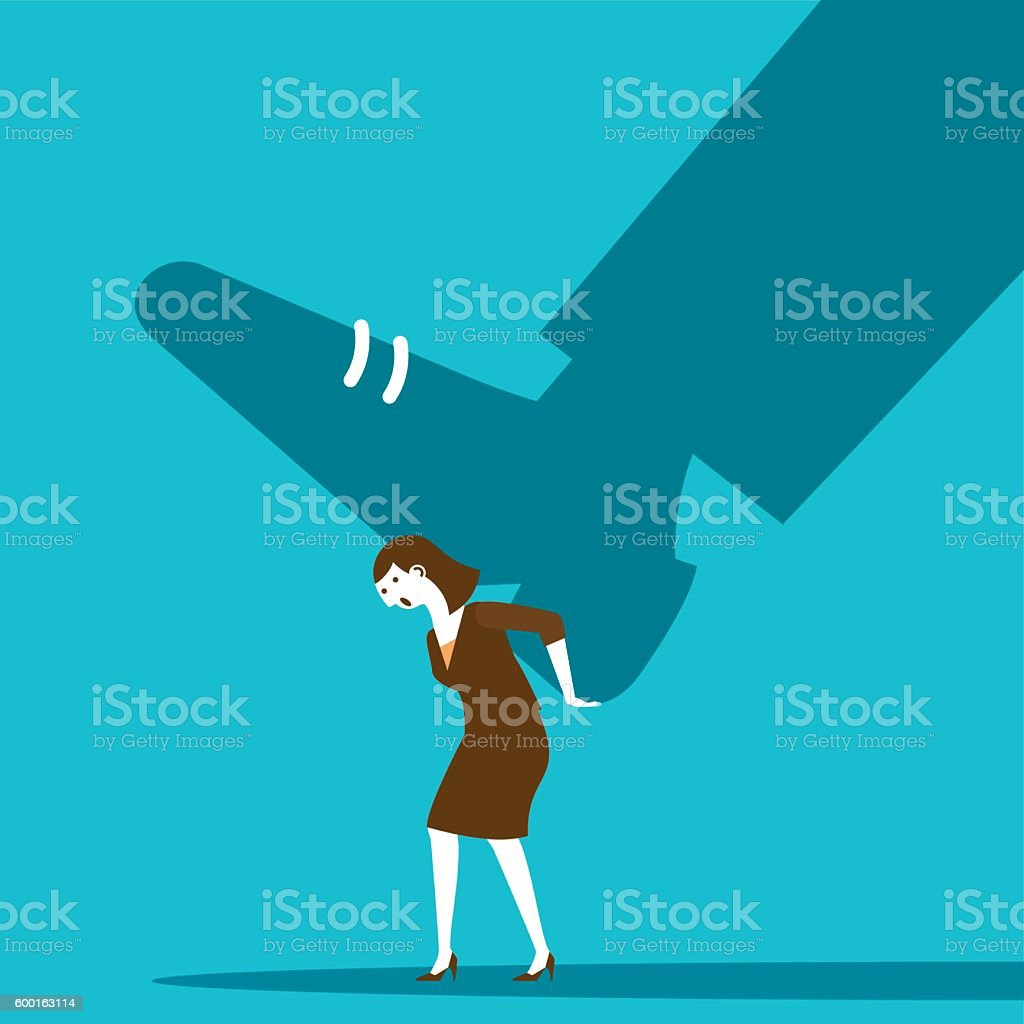 Businesswoman Stepped On By Giant | New Business Concept vector art illustration