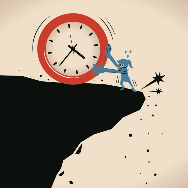 ilustrações de stock, clip art, desenhos animados e ícones de businesswoman (woman, girl) stopping a big time clock falling off a cliff, worry about time passing away - criança perdida