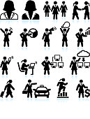 Businesswoman Success black & white royalty-free vector interface icon set