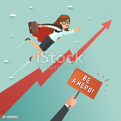 620402800istockphoto Businesswoman superhero flying to achieve his goal 874856822