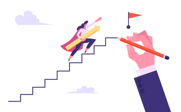 businesswoman superhero running stair stairway in sky drawn with huge human hand to top with red flag, business growth and path to success, leadership, goal achievement, cartoon flat vector illustration - menschliches körperteil stock-grafiken, -clipart, -cartoons und -symbole