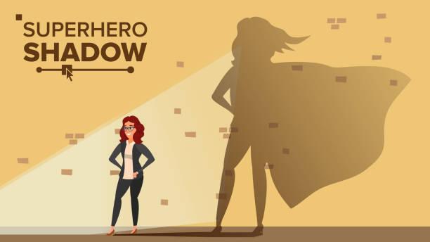 Femme d'affaires Superhero Shadow Vector. Émancipation, Ambition, succès. Concept de leadership. Super-héros de la création d'entreprise moderne. Plate bande dessinée Illustration - Illustration vectorielle
