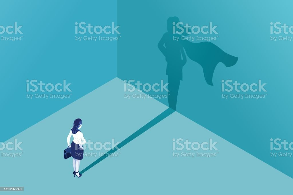 Businesswoman superhero shadow vector art illustration