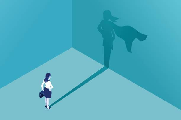 businesswoman superhero shadow - autorytet stock illustrations