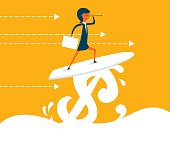 Businesswoman surfing on Dollar wave, Using Telescope, Concept business vector illustration.