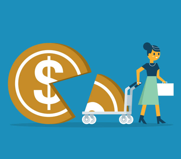 Businesswoman takes away part of coin shaped pie on cart vector art illustration
