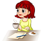 businesswoman taking her cup of tea while making a report