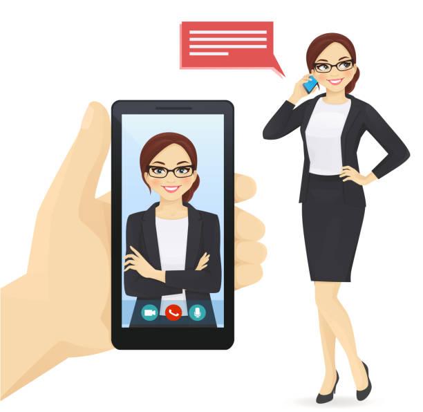 stockillustraties, clipart, cartoons en iconen met zakenvrouw praten op de mobiele telefoon - business woman phone