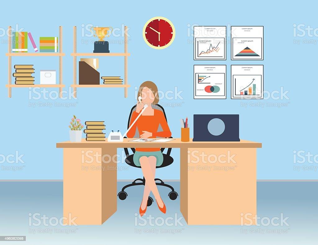 Businesswoman talking on the phone in office. vector art illustration