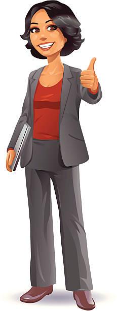 ilustraciones, imágenes clip art, dibujos animados e iconos de stock de empresaria botón pulgar levantado - cabello negro