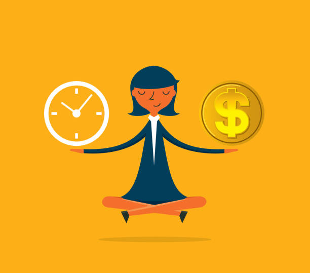 Businesswoman - Time is money Time is money concept time is money stock illustrations