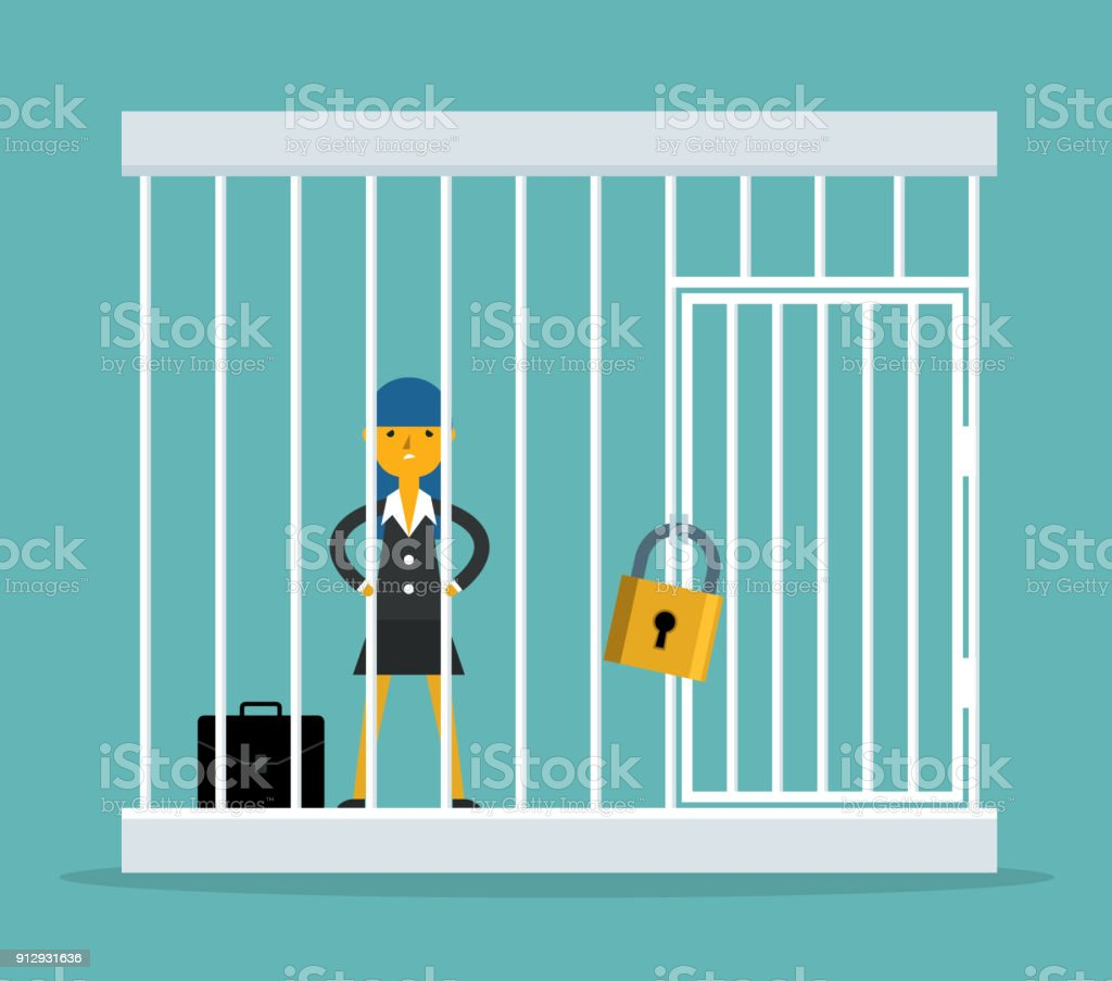 Businesswoman trapped in a cage vector art illustration