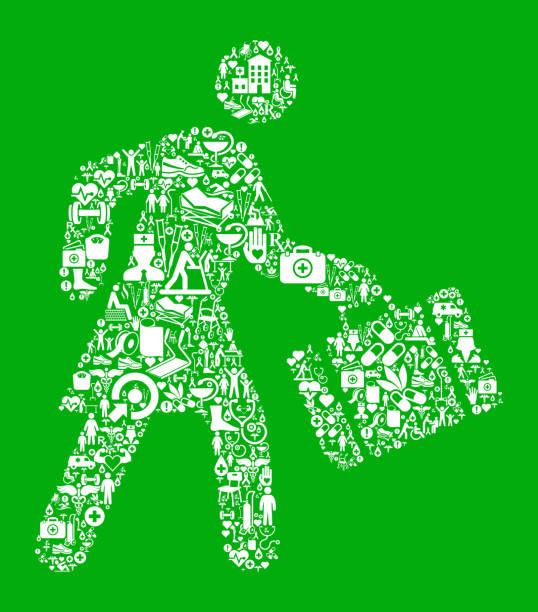 ilustrações de stock, clip art, desenhos animados e ícones de businesswoman traveling green medical rehabilitation physical therapy - senior business woman tablet