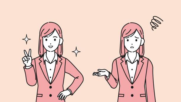 ビジネスウーマントラブルと成功のイラスト - sales点のイラスト素材/クリップアート素材/マンガ素材/アイコン素材