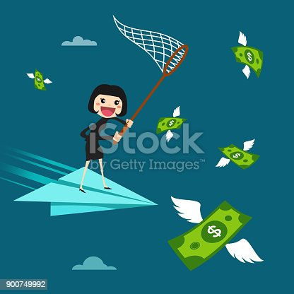Businesswoman trying to catch money. vector illustration design.
