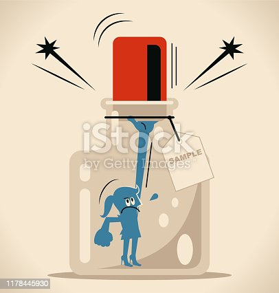 Blue Little Guy Characters Full Length Vector Art Illustration. Businesswoman trying to escape from a confined space glass bottle with cork (airtight container) and label.