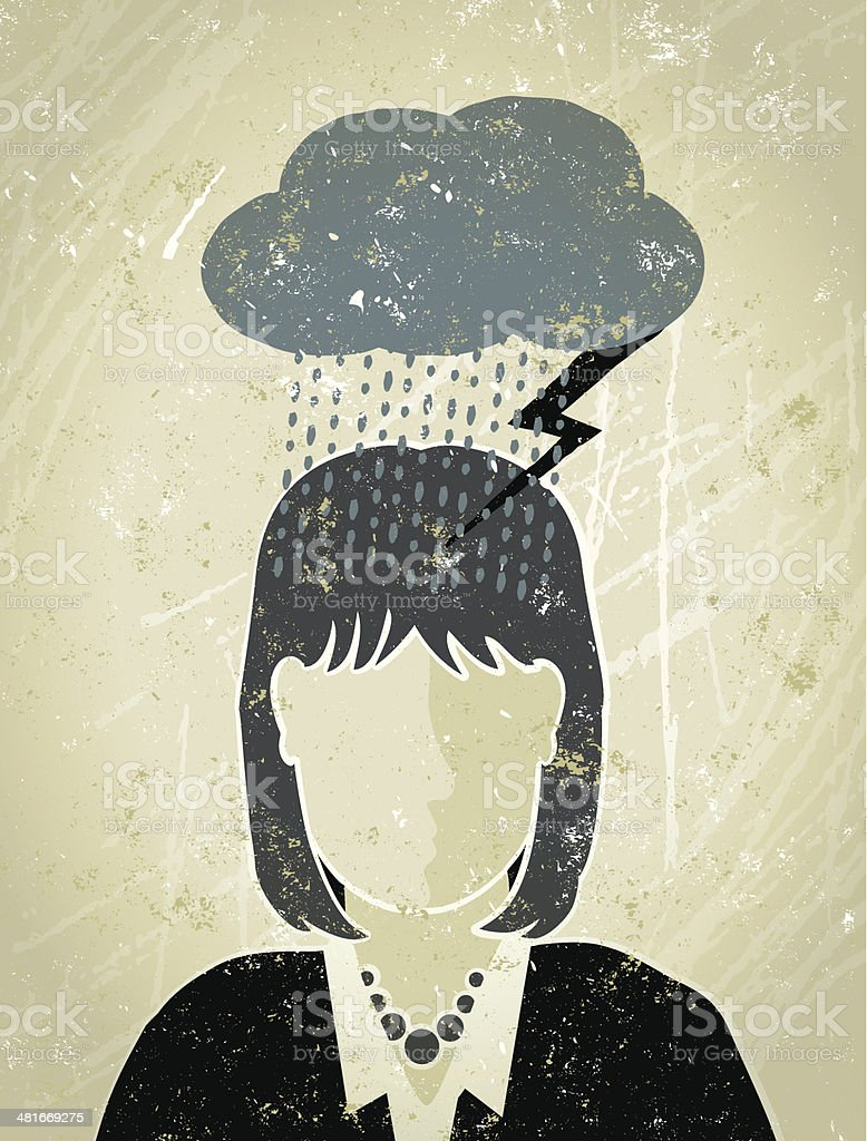 Businesswoman under a Dark Cloud Why does it always rain on me,? A stylized vector cartoon of a Businesswoman under a dark cloud with rain and lightning, the style is  reminiscent of an old screen print poster, suggesting depression, under the weather,financial instability,stormy weather, brain storming or pessimism. Woman, cloud, rain, lightning,paper texture and background are on different layers for easy editing. Adult stock vector