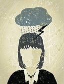 Why does it always rain on me,? A stylized vector cartoon of a Businesswoman under a dark cloud with rain and lightning, the style is  reminiscent of an old screen print poster, suggesting depression, under the weather,financial instability,stormy weather, brain storming or pessimism. Woman, cloud, rain, lightning,paper texture and background are on different layers for easy editing.