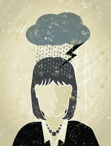 Businesswoman Under A Dark Cloud Stock Illustration - Download Image Now