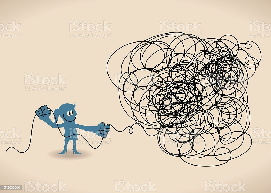 Businesswoman untangle a tangled messy knot (string, line) vector art illustration