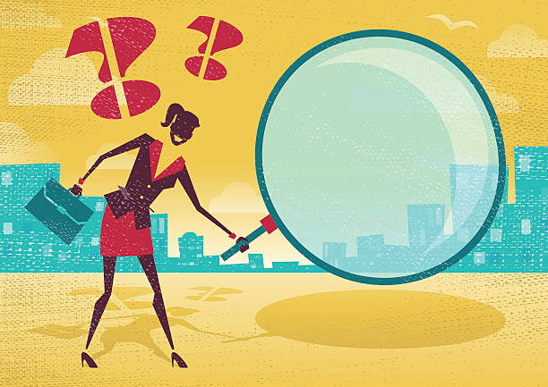 Businesswoman uses magnifying glass to find clues. vector art illustration