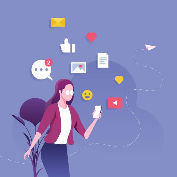 geschäftsfrau mit smartphone mit social-media-social-network-konzept - tablet mit displayinhalt stock-grafiken, -clipart, -cartoons und -symbole