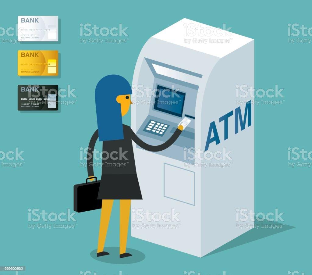 実業家の ATM マシンを使用して ベクターアートイラスト