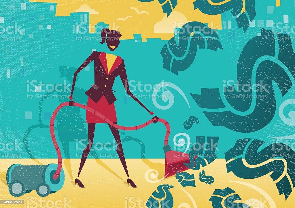 Businesswoman Vacuums up the Money. vector art illustration