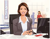 Illlustration of a attractive dark-haired businesswoman sitting in an office at her desk. Vector with layers.