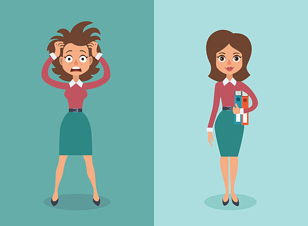 businesswoman - stress stock illustrations, clip art, cartoons, & icons