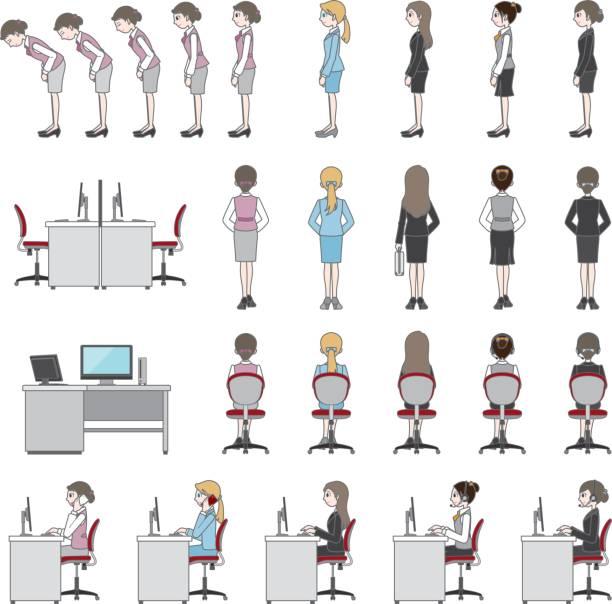 ビジネスウーマン  - オペレーター 日本人点のイラスト素材/クリップアート素材/マンガ素材/アイコン素材