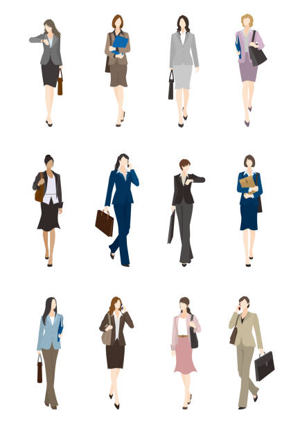 ビジネスウーマン - ビジネスマン 日本人点のイラスト素材/クリップアート素材/マンガ素材/アイコン素材