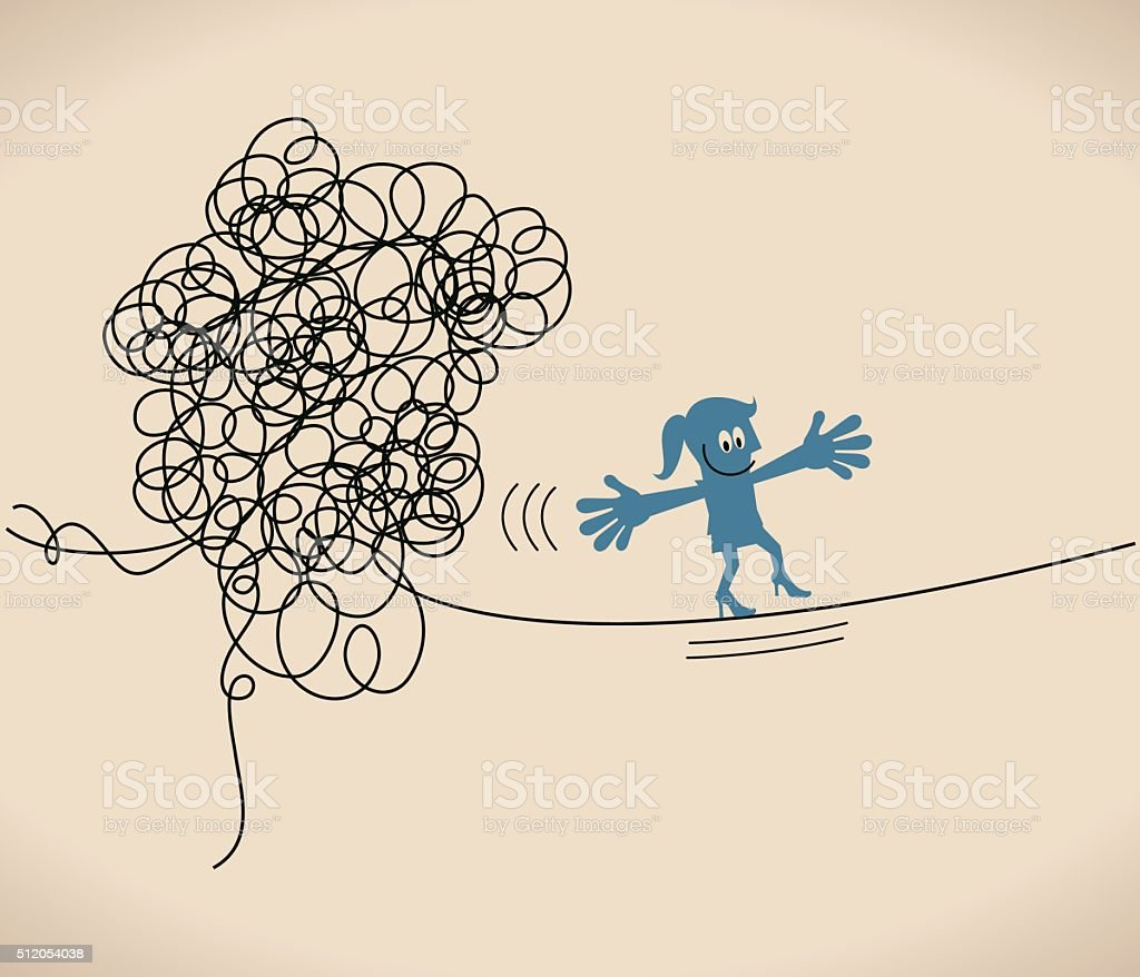 Businesswoman walk on thin rope, escape from tangled messy line