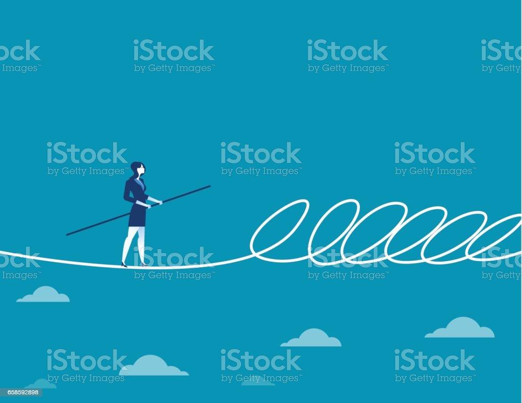 女商人走鋼索和屏障。商業插畫的概念。平面向量向量藝術插圖