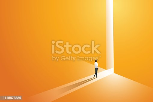Businesswoman walking go to front of bright big shining door in the wall orange of the hole at light falls. illustration Vector