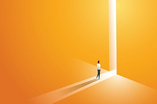 Businesswoman walking go to front of bright big shining door in the wall orange of the hole at light falls. illustration Vector clipart