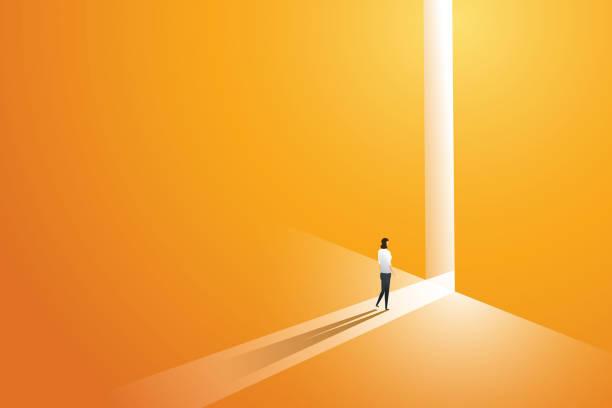 걷는 사업가는 빛이 떨어지는 구멍의 벽에 밝은 큰 빛나는 문 앞으로 이동 합니다. 삽화 벡터 - 개념 stock illustrations