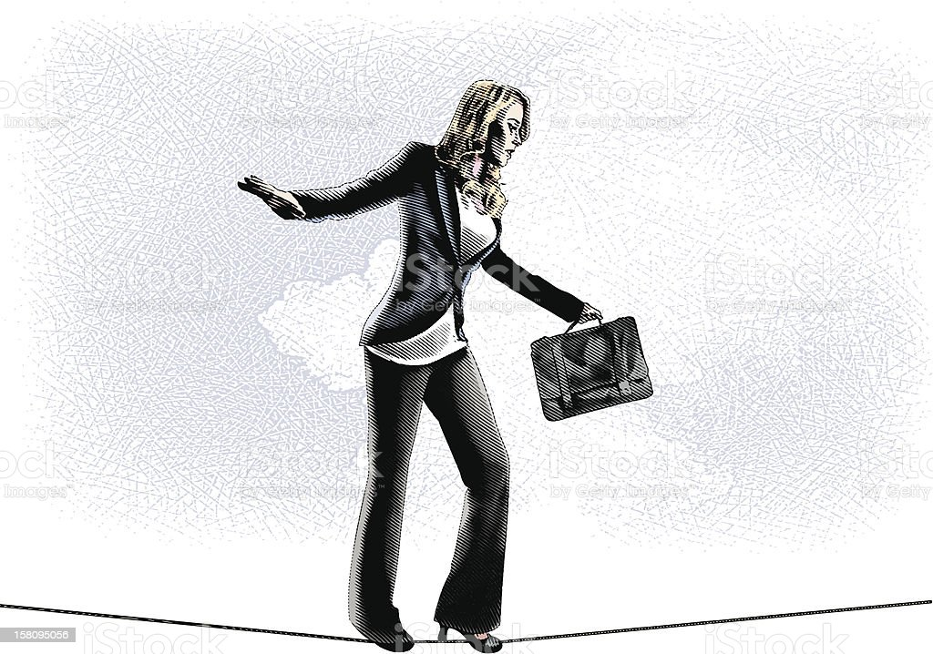 Businesswoman Walking Tightrope向量藝術插圖