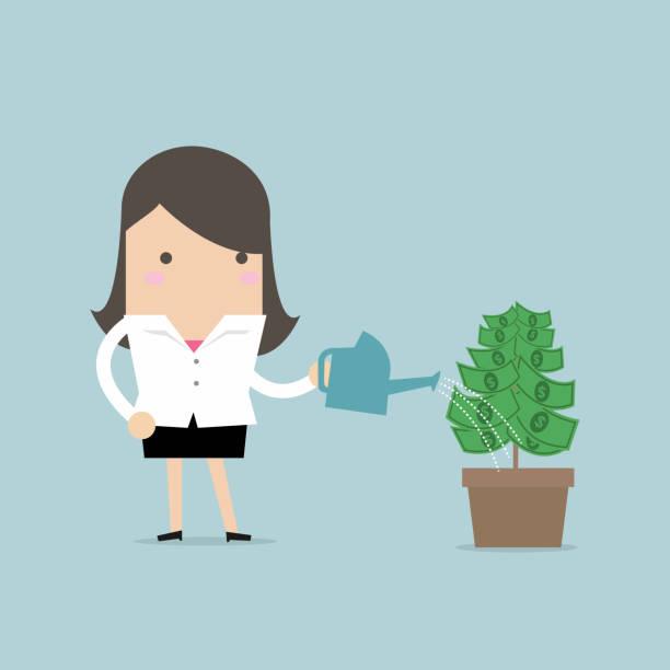 businesswoman watering money plant. - dollar bill stock illustrations