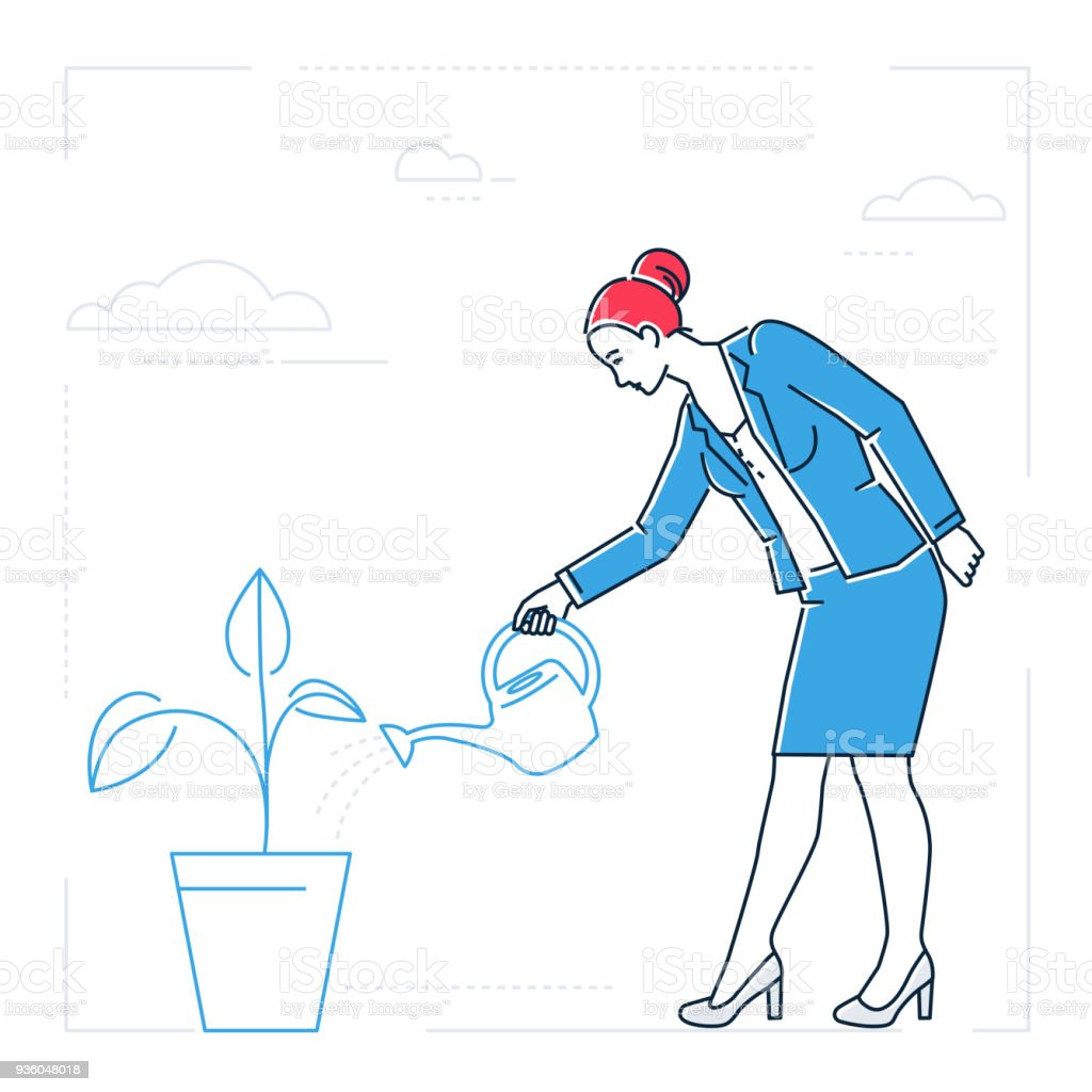 Businesswoman Watering The Plant Line Design Style Isolated