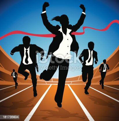 EPS10 File. Transparencies used in this Vector illustration of a Businesswoman winning a race against a group of Businessmen depicted as silhouettes. Hi-res Jpeg, PNG and PDF files included.