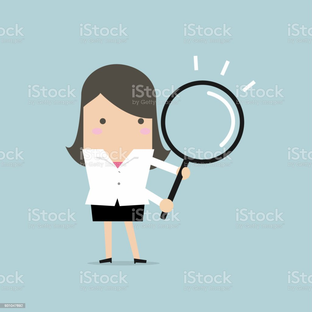 Businesswoman with a magnifying glass. vector art illustration